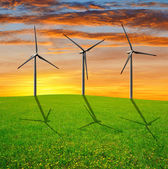 Spring meadow with wind turbines — Stockfoto