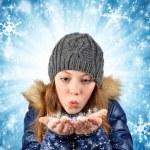 Winter portrait girl — Stock Photo