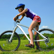 Girl with bike — Foto Stock