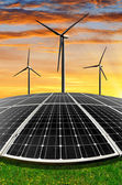 Solar energy panels and wind turbines — Foto Stock