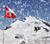 Strahlhorn with Swiss flag — Stock Photo