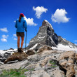 Girl looking at the Mount Matterhorn — Stock Photo