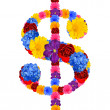 Dollar sign from flowers — Stock Photo