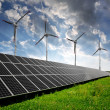 Solar energy panels and wind turbines — Stock Photo #36910143