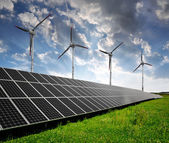 Solar energy panels and wind turbines — Foto de Stock