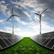 Solar energy panels and wind turbines — Stock Photo #38194499