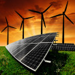 Solar energy panels with wind turbines — Stock Photo #39242813