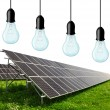 Stock Photo: Solar energy panels with bulbs