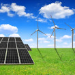 Solar energy panels and wind turbines — Stock Photo #40766993