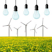 Wind turbines with light bulb. — Stock Photo