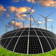 Solar energy panels and wind turbines — Stock Photo #41595417