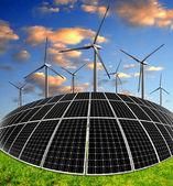 Solenergi paneler och vindkraftverk — Stockfoto