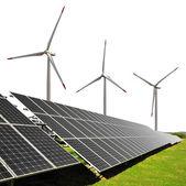 Solar energy panels with wind turbines — Stock Photo