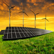 Solar energy panels with wind turbines — Stock Photo #41743237
