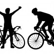 Stock Photo: Cyclist silhouettes