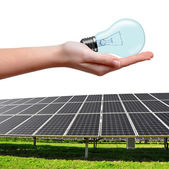 Solar energy panels and bulb in hand — Stock Photo