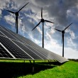 Solar energy panels with wind turbines — Foto de Stock