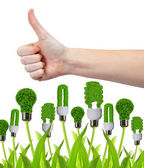 Hand with thumb up and eco energy bulbs — Stock Photo