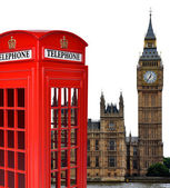Telephone box and the Big Ben in London — Stock Photo
