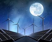 Painéis de energia solar e turbinas eólicas — Foto Stock