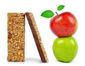 Chocolate Muesli Bars with apples — Stock Photo