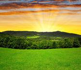 Sunset over spring landscape — Stock Photo