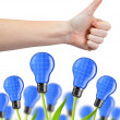 Hand with thumb up and eco energy bulbs — Stock Photo #47087701