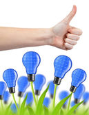 Hand with thumb up and eco energy bulbs — Stok fotoğraf