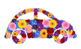 The ecological car from flowers — Stock Photo