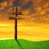 木制箭头道路标志 — 图库照片