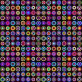 Colorful Psychedelic Circles on Black Background — Stock Vector