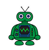 Little Green Robot — Stock Vector