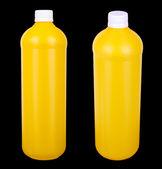 Zwei gelbe container für hygieneprodukte — Stockfoto