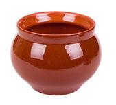 Le pot d'argile brune vide — Photo