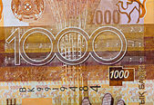 Fragment of Kazakh banknote — Stock Photo