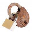 Old padlock and new padlock linked — Stock Photo