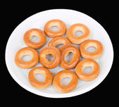 Bagels in disposable dish — Stock Photo