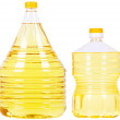 Pet bottles with oil — Stock Photo