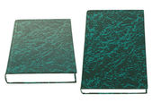 Black books with blue pattern lying — Stock Photo