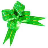 Bow made from green ribbon isolated — Stock Photo