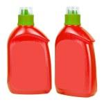 Red plastic bottles for liquid soap — Stock Photo #43990853