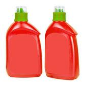 Red plastic bottles for liquid soap — Stock Photo