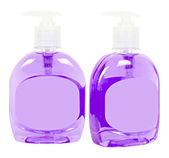 Lilac bottles with liquid soap — Stock Photo
