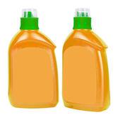 Orange plastic bottles for liquid soap — Stock Photo