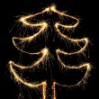 Sparkler christmas tree — Stock Photo