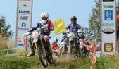 Uhlirske Janovice, Czech Republic - August 24: unidentified rider in the european enduro championship on August 24, 2013 in Uhlirske Janovice, Czech Republic — Stock Photo