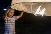 Loy Krathong Lantern and Little Boy — Stock fotografie
