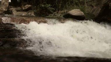 River falls down the stream — Stock Video