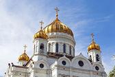 Moskou. gouden koepels van de kathedraal van christus de verlosser — Stockfoto