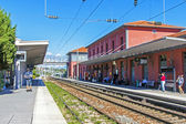 France, Cote d'Azur, in October 2013. The train station is an old French town of Antibes — Stock Photo